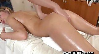 This massage is taking a dirty turn as he feels her up
